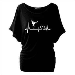 2019 Harajuku Ballet Ballerina Dance Heartbeat Printed Women T shirts Casual Summer Batwing Short Sleeve T Shirt Cotton Tops