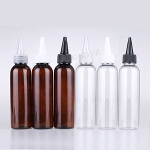 100pcs Empty Clear brown PET bottle 120ML Plastic Dropper Bottles With Childproof Cap Long Thin Tip,Needle 120cc