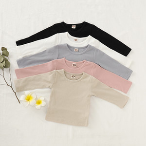 INS Spring Fall Fashion Baby Kids Boys Girls Tops Cotton Blank Tshirts Children Tops Round Collar Tees Designer Child Clothing Outfits