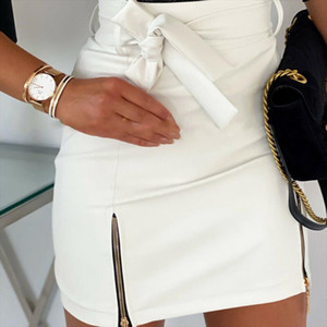 2020 New Womens Fashion Bandage PU Leather Skirt Zippers Ladies High Waist Pencil Bodycon Short Mini Skirt Casual Club Clothes