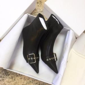 Hot Sale- booties ,martin australia shoes air, vintage,designer shoes luxury women shoes , Belt 40mm Zipped Booties in black