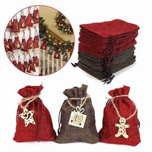 Christmas 2021 Advent Calendar Gift Bag With Stickers 24days Hanging Drawstring Candy Bag Diy Xmas Countdown Decorations Sacks