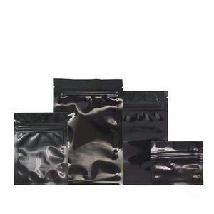 1000 adet Siyah Alüminyum Folyo Gıda Çantası Zip Kilit Paketleme Çanta Snack Fasulye Çay Ambalaj Torbalar Kendinden Mühür Ziplock Fermuar Parlak