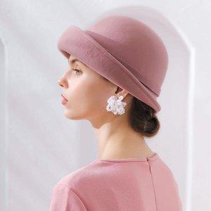 2020 Best Fibonacci 2018 Nouvelle qualité de marque Britique de laine florale Fedoras Fedoras Femme Automne Hiver Chapeaux Dôme Elegant banquet Fedora chapeau