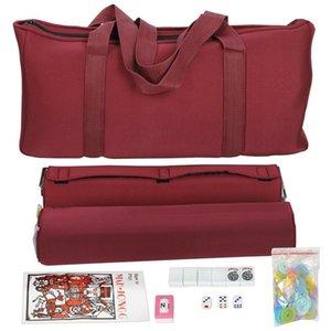 التفاصيل 4 ألوان الأمريكية مجموعة Mahjong 166 W / Soft Mah Inversers / Racks عن Jongg Set Tiles Bag Mjtas