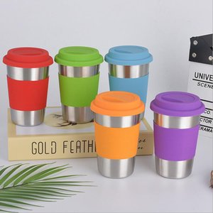 Stainless Steel Tumbler Mug with Silicone Lid and Wrap Collapsible Portable Wine Beer Coffee Water Cup