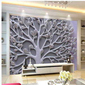 3d customized wallpaper Big tree relief wallpapers background wall 3D background wall relief decorative painting mural