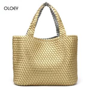 Oloey Новая женская сумка двойной сумки для плеча PU сплетенный мешок двусторонний двухцветный двухцветный большой ведро емкости