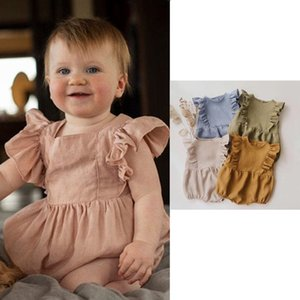 BRG INS Korean Australia Great Quality Baby Kids Rompers Organic Linen Cotton Fly Sleeve Back Buttons Jumpsuits Newborn Onesies Climb Cloths