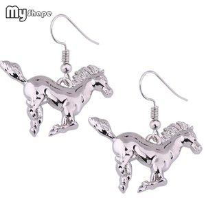 My Shape Sportif Courir Equitation Boucles d'oreilles Animal Silver Plated Dangle Boucles d'oreilles pour Cowgirl Femmes Accessoires Cadeau pour les amateurs de chevaux