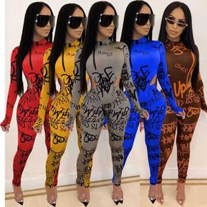 2020 Women Letter Print Jumpsuit 2 Piece Set Long Sleeve Hollow Out Turtleneck Romper Tracksuit Club Bodysuit Long Pants Sets