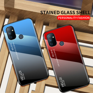Glossy Gradient Color Cover Tempered Glass Phone Case For Oneplus Nord N100 N10 8T 8 Pro 7 Pro 7T 6T 6 5 T