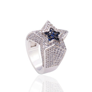 Fashion Hip Hop Mens Jewelry Rings Five-point Star Bling Rings Iced Out Zircon Fashion Hiphop Gold Silver Ring