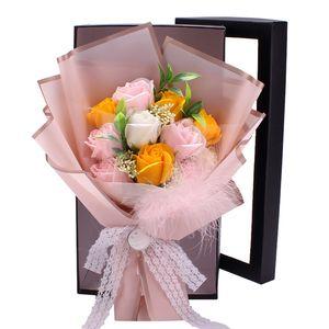 11PCS الأبدي الصابون ارتفع اليوم باقة من الزهور الحب ارتفع هدية مجموعة الزفاف باقة علبة هدية محاكاة روز