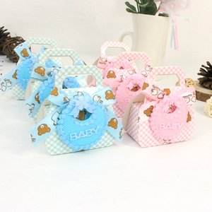 AVEBIEN 24pcs Cute Baby Apron Candy Box Baby Shower Favors Gifts Chocolate Box Birthday Themed Party Decorations Kids Gift Box Y1121