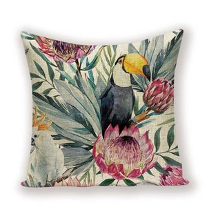 Shabby Pillow Cover Covers Vintage Decorative Pillow Case Plant Flowers Chic Cushion 45X45 Quality Animal Bird Flax Pillowcase