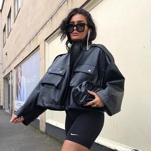Malina Black PU Leather Jackets Women Fashion Pockets Loose Coats Women Elegant High Waisted Jackets Female Ladies GA1