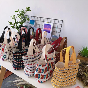 Hand-held Mini Cotton Shopping Bags Solid Handbags Women Girl Vintage Canvas Tote Casual Shoulder Bag Hasp Lunch Bucket Bag