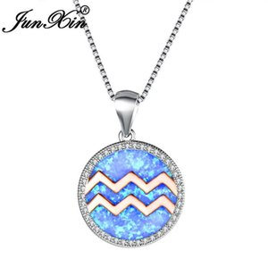 JUNXIN Female Constellation Aquarius Pendant Necklaces For Women White Gold Filled Round Birthstone Valentine Necklace Jewelry