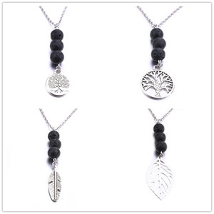 8MM Lava Stone Bead Leaf Tree Of Life Charms Necklace Diy Aromatherapy Essential Oil Diffuser Necklace For Women Jewelry