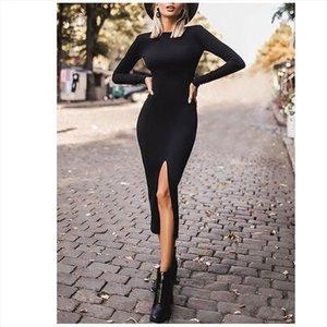 New Womens Solid Color Split Maxi Dresses Long Sleeve O Neck Sexy Slim Dress Fashion Ladies Office Dresses Elegant Party Dress