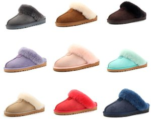 Xmas Top Quality Natural Sheepskin Fur Slippers Boots Fashion Female Winter Slippers Women Warm Indoor Slippers Soft Wool Lady Home Shoes