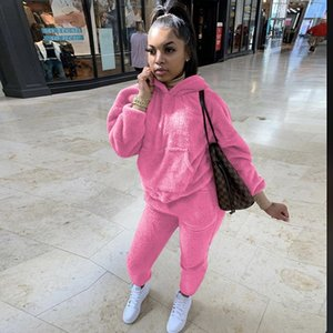 Winter Plus Size Sweatsuits for Hooded Sweat Women Warm Sweatshirt Top and Pants Womans Tracksuits Suits Set