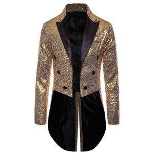 2020 Sequin Long Jacket Blazer Men Swallowtailed Coat Stage Magician Wedding Groom Suit Tuxedo Hombre Masculino