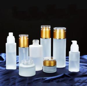 30 ml 40ml 50ml 60ml 80ml 100ml 100ml vetro smerigliato bottiglia di bottiglia di lozione spray pompa bottiglie cosmetici campione di stoccaggio contenitori contenitori vaso vaso ewd3246