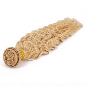 Remy Cabelo Humano Weave onda profunda da Malásia Virgin Cabelo Pacotes 613 Loiro Para Negras Campany extensão do cabelo Queenlike 9A Diamante Grade