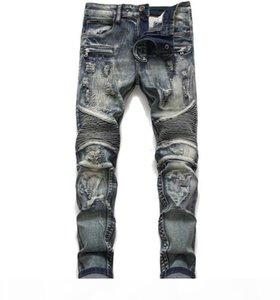 Mens Classic Biker Jeans Мужской тонкий прямой на колене Drape Panel Moto Biker Jeans уничтожил разрывающиеся ручные брюки хип-хоп