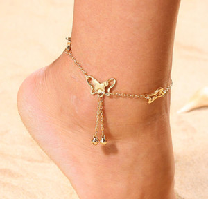 Rhinestone Crystal Ankle Bracelets For Women Sandals Butterfly Anklet Boho Beach Foot Iced Out Chains Anklets Female jllHZW bdecoat