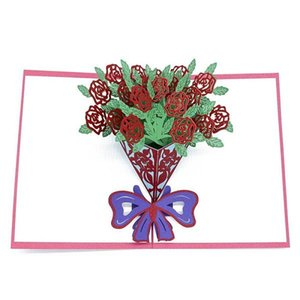 A Bouquet Of Rose Flowers 3d Pop Up Card Birthday Gift With Envelope Sticker Laser Cut Invitation Greeting Card Postcard jllhrM