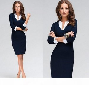 Women Dress Deep V Neck Patchwork Design 3 4 Sleeve New Fashion Causal Dress For Office Work Female Ladies bandage Dress