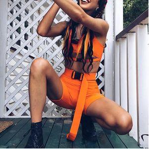 Womens Bodycon 2 Pieces Outfits Spaghetti Strap Cutout Buckle Tank Crop Top High Waist Shorts Tracksuit Set Clubwear