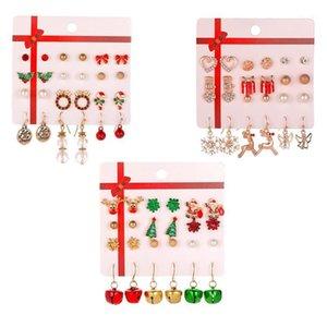 Stud 8 Pairs Christmas Earrings Set Gifts Deer Tree Jewelry Year Gifts1