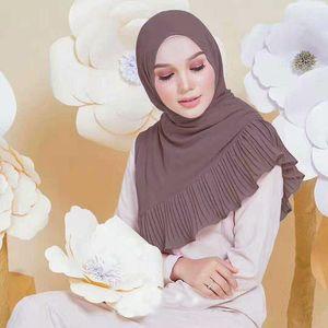 Этническая одежда Мусульманские женские шифоновые шарф головы тюрбан сплошной цвет рамадан абая кафтан мгновенный хиджаб арабский исламский длинный петли платки S