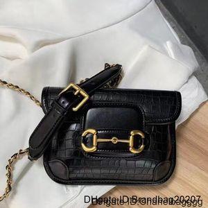 High Quality body Messenger Bag Purse Fashion Crocodile Pattern Chain Single Shoulder Cross Mini Horsebit Hasp Genuine Leather Bags