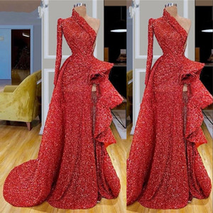 Dubai Arabic Red Sequins Lace Mermaid Prom Dresses High Side Split One Shoulder Party Gowns Turkish Vestidos Formal Gowns Dress Evening Wear