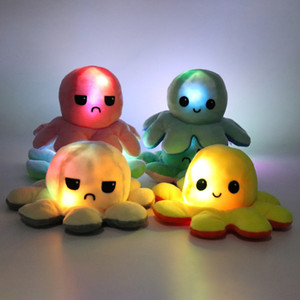 Illuminated Flip Octopus Plush Stuffed Toy Light Inside Double-Sided Flip Smile Sad Emotion Cute Animal Doll Children Gifts Baby Companion