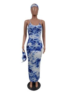 Tie-dye sling dress mask and headscarf set Women Dresses Sexy Fashion Long Dress Maxiskit Bodycon Party Designer Clothes CZ1202C