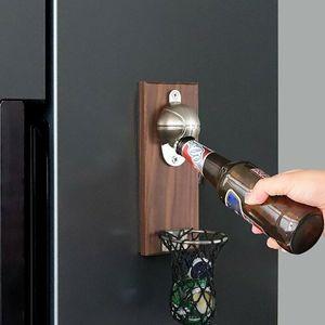 1Pcs Wine Beer Bottle Opener Wall Mount Bottle Basketball Bottle Opener Tools With Embedded Magnetic Cap Catcher In Solid Opener Q1123 Q1124