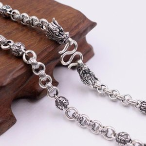 "Pure 925 Sterling Silver Necklace Width 7mm Six-word Mantra Beads Dragon Head Rolo Link Chain 21.65""L 23.62""L 25.59""L For Man"