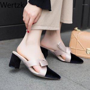 Wertzk nuovo arrivo 2020 bowknot donne pantofole puntate punta tacchi alti pantofole signore moda donna scarpe zapatos mujer E5121