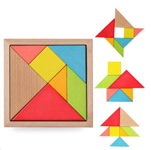 Colorful Wooden Tangram 7 Pcs set Jigsaw Square Block IQ Game Intelligent Educational Toys Best Gifts for Kids SEA PPC5393