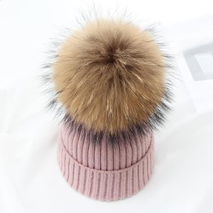 Jiangxihuitian Simple Real Fur Ball Cap Pom Poms Winter Hat For Women Girl 's Hat Knitted Beanies Cap Brand New Thick Female jlloXu jhhome