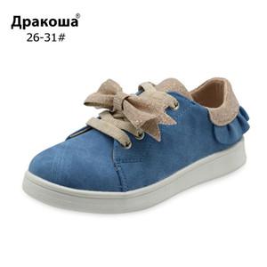 Apakowa Girl Candy 2 Couleurs Spring Bow-Knot Design Lace up mignon décontracté avec fermeture à glissière pour chaussures enfants Y1118