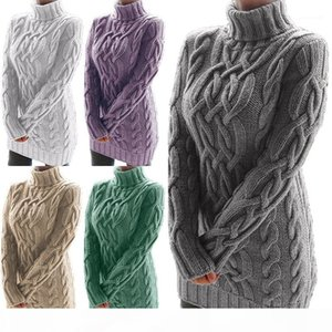 Womens Designer Retro Sweater Dress Turtle Neck Solid Color Thicken Dress Casual Female Clothing Dropshipping Autumn Winter