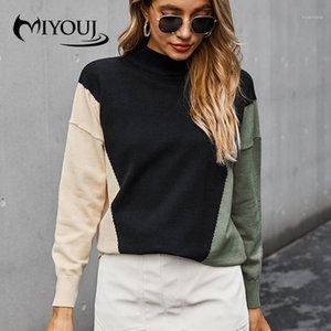 Miyouj повседневная лоскутное свитер Женщины Turtleneck вязаный пуловер осень с длинным рукавом мода шикарно топ1