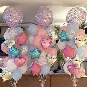 Rose Gold Balloons Star Heart Foil Wedding Decorations Transparent Confetti Balloon Birthday Party Decoration
